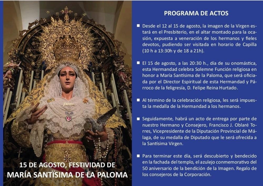 Actos y Cultos con motivo de la Festividad de María Santísima de la Paloma
